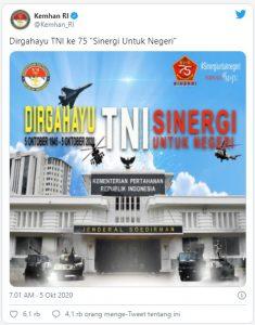 Desain Poster HUT TNI Ke-75 Kemhan Jadi Guyonan Jagat Maya